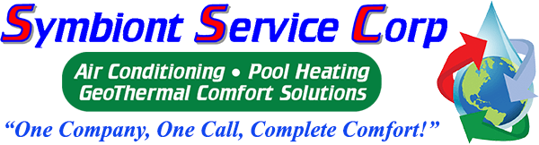 Symbiont Service Corp. logo, Air Conditioning, Pool Heating GeoThermal Comfort Solutions, tagline: one company, one call, complete comfort