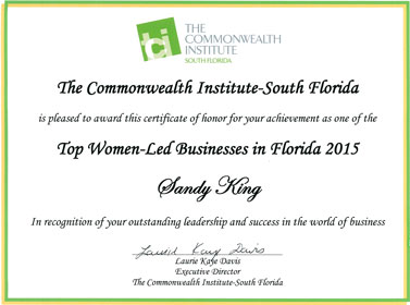 2015 Top Women-Led Businesses in Florida Award