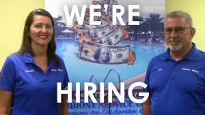 we are hiring banner with Sandy and Jim