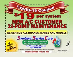COVID-19 Coupon $19 per system NEW A/C Customer 32-Point Maintenance - expires June 30, 2020