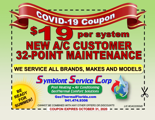 COVID-19 Coupon $19 per system NEW A/C Customer 32-Point Maintenance - expires October 31, 2020