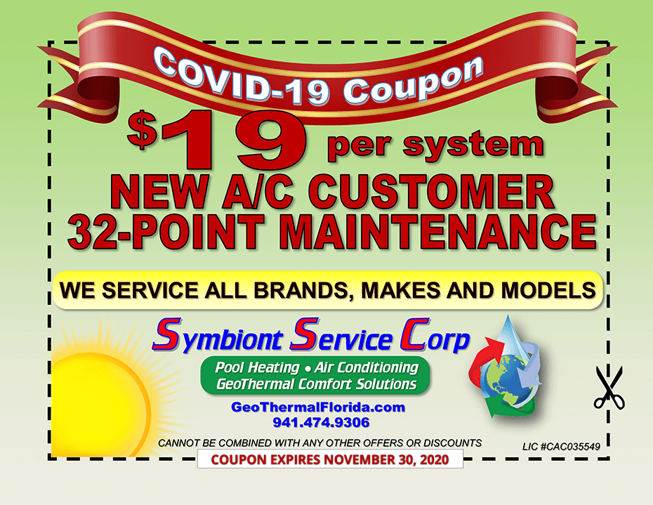 COVID-19 Coupon $19 per system NEW A/C Customer 32-Point Maintenance - expires November 30, 2020