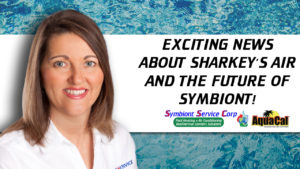 Photo of CEO Sandy King with text: Exciting News about Sharkey's Air and the future of Symbiont!