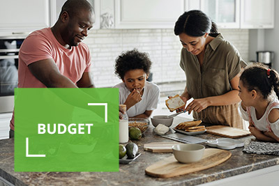 Budget - family cooking dinner together
