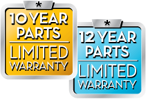 10 year limited warranty and 12 year limited warranty badges